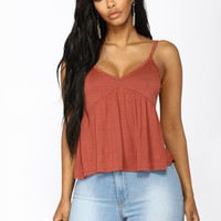 After Hours Peplum Top - Brick Red