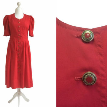 Retro 80's Dress - 1980's Dress - Dusky Tomato Red Vintage Dress - Star Button Dress