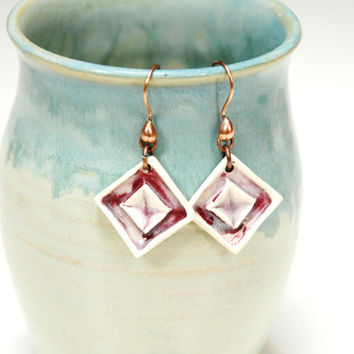 Square clay earrings,red pottery earrings,red diamond earings,red dangle earrings,stoneware jewelry,clay copper earrings,ceramic earrings,