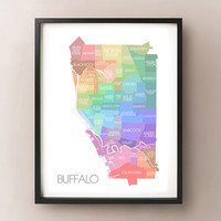 Buffalo, NY Map - Coloured Neighbourhoods Print
