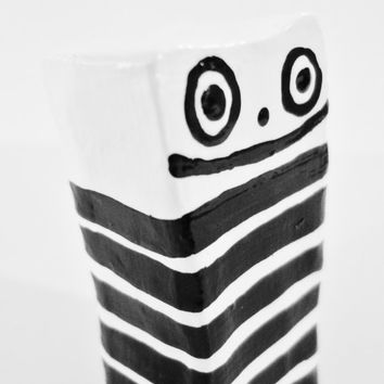 Baby polkadotty - Small Modern Sculpture Black and White Stripe OOAK Original Clay Sculpture Small Art Sculpture - FREE SHiPPiNG Canada & US