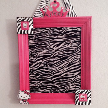 Hair bow holder jewelry photo accessory organizer bulletin memo memory board hello kitty bedroom decor teen Hello Kitty zebra fur hot pink