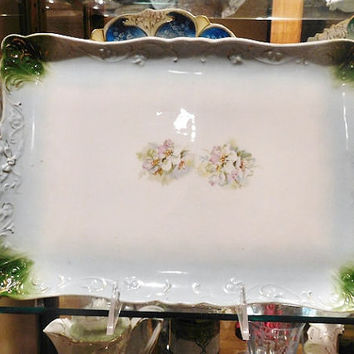 CT Germany Porcelain Tray Dresser Tray 1800s Antique Victorian Porcelain Vanity Dresser Boudoir Flower Floral Ribbon Bow Mold
