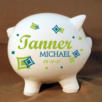 "5.5"" Boys Personalized Piggy Bank  with Vinyl Decal - Custom Piggy Bank - Big piggy Bank - Large Bank - Simple Piggy Bank - Newborn gift"