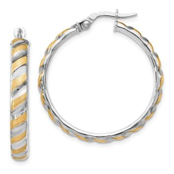 Leslies 14k White Gold with Yellow Polished Brushed Large Hoop Earrings