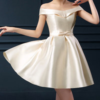 Beige Off Shoulder Bowknot Waist Lacing Back Prom Skater Dress