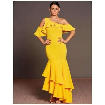 One Shoulder Women Gown