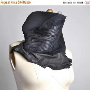 SPRING SALE Black Goth Neck Warmer - Black Cowl - Black Neck Warmer - Goth - Goth Accessories - Leather Scarf