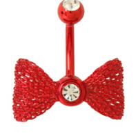 14G Steel Red Mesh Bow Curved Navel Barbell