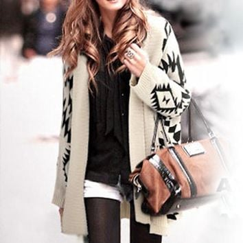 Beige Geometric Print Aztec Irregular Batwing Long Sleeve V-neck Loose-fitting Casual Fashion Cardigan Sweater