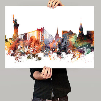 New York Poster, New York City, New york skyline, NYC Cityscape, New York Print, Watercolor Painting ,New York City Art, Fine art print(316)
