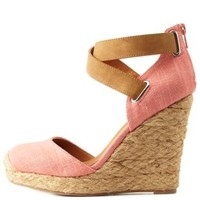 Salmon Qupid Two-Piece Platform Espadrille Wedges