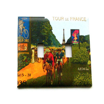 Double Light Switch Cover - Light Switch Plate Tour De France Bicycle Race Vintage Poster