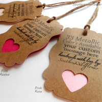 Pick your Pink, Custom Pearlescent Gift Tags - Pink Azalea, Peach, Pink Rose, Wedding Tags, Baby Shower Tags, Heart Punched Tags, Kraft tags