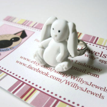 Stuffed Bunny Ring, Easter Jewelry,White Acrylic, Adjustable Silver Toned Metal Band