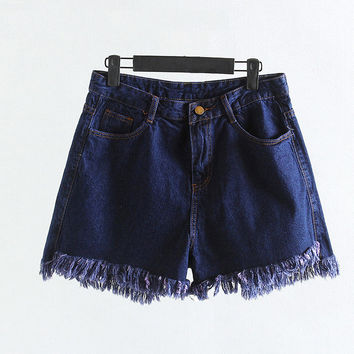large size Women's Fashion Brand Vintage Tassel Rivet Ripped Loose High Waisted Short Jeans Punk Sexy Hot Woman Denim Shorts