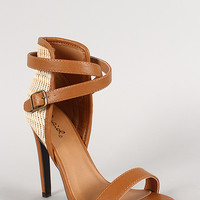 Qupid Woven Panel Strappy Open Toe Heel