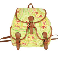 Garden Flower Travelling Bag School Bag Canvas Casual Backpack Daypack