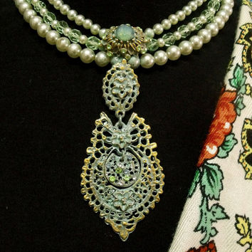 Portugal Queen verdigris filigree style necklace pearls strands Portuguese jewelry pendant
