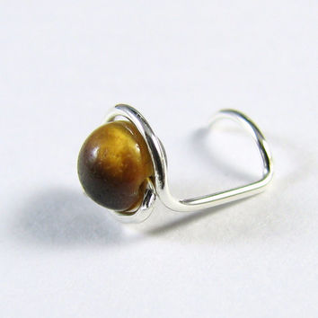 Nose Screw Nose Stud Sterling Silver Stud Tiger Eye Nose screw Gemstone Single Wrap