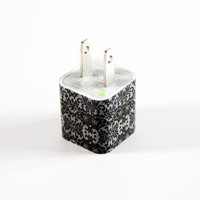Elegant Lace Floral USB Charger Adapter USB Data Cable for iphone 4s/4/5/5s/5c Samsung Android