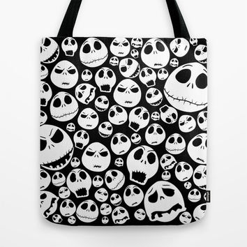 Halloween Jack Skellingtons emoticon face pattern Tote Bag by Greenlight8