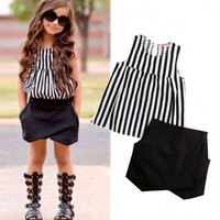 Fashion Toddler Kids Girls Striped Tops Shirt Puffy Shorts Outfits Set Clothes
