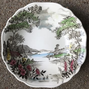 Square Hand Painted Pastoral Scene Cottage on Lake Berry Bowl or Candy Dish