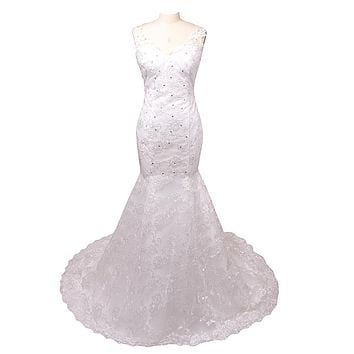 News Style Long Sleeveless  Spaghetti Straps Lace Mermaid Wedding Dresses New V Neck Sheer Back Beads Applique Bridal Gowns