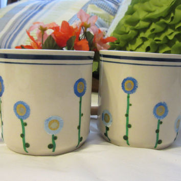 Hand Painted Blue Floral EHI Coffee Tea Cups or Mugs - Set of 2 -