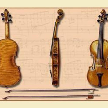 The Hellier Stradivarius and Two Old Bows 12x18 Giclee on canvas