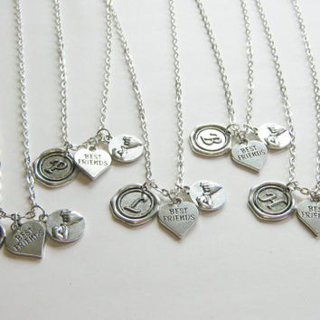 5 Best Friends Necklaces,Wax Seal Initial, Pinky Promise And Heart Best Friend, Five Best Friends, 5 BFF Necklaces, 5 Friends Jewelry