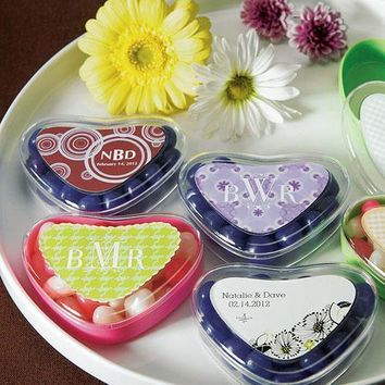 Clear Heart Shaped Favor Box Sweet Candy Container Crystal & Sour Apple Green (Pack of 12)