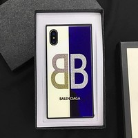 BALENCIAGA Fashion Blue-Ray Mirror Square Glass  iPhone Phone Cover Case For iphone 6 6s 6plus 6s-plus 7 7plus iPhone8 iPhone X Mobile Phone Protection Shell Black I13026-1