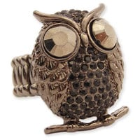 Black Metal Rhinestone Owl Stretch Ring - Unique Vintage - Cocktail, Evening, Pinup Dresses