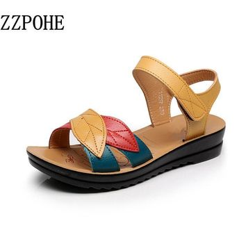 ZZPOHE summer new mother sandals soft bottom anti-skid middle-aged fashion Woman sanda