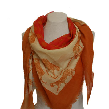 Women's Square Big Scarf - Tiger Print Animal Pattern
