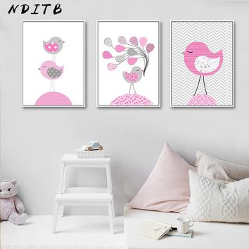 NDITB Pink Bird Baby Nursery Wall Art Canvas Painting Cartoon Posters Prints Nordic Kids Decoration Picture Girls Bedroom Decor