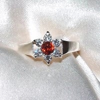 Vintage Orange and White Sapphire Ring, Sterling Silver, Flower Ring, Eco Friendly Engagement Ring, Cathedral Setting, Sapphire Cluster Ring