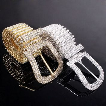 ESB9GW Fashion Women Ladies Waist Hip Belt Crystal Rhinestone Waistband Metal Buckle Party waist chain