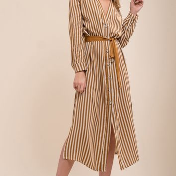 Moon River Button Down Shirt Dress With A Slit