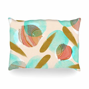 "Mmartabc ""Marble And Gold Abstract"" Coral Gold Watercolor Oblong Pillow"