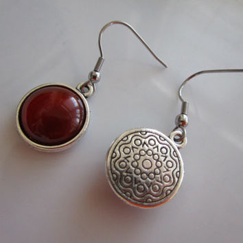 Silver nickel free genuine stone red agate earring - stainless steel nickel free hook - red agate jewelry - genuine stone jewelry, red agate
