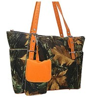 Camo Leaves Tote Purse w/ Concealed Weapon Handgun Gun Pocket Camouflage Bag (Orange)