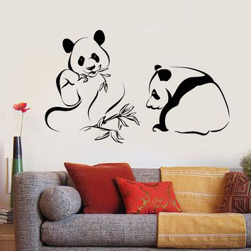 Vinyl Wall Decal Panda Bears Asian Bamboo Chinese Animals Stickers Unique Gift (1963ig)