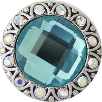"""Snap Charm Turquoise Crystal Center 20mm, 3/4"""" Diameter"""