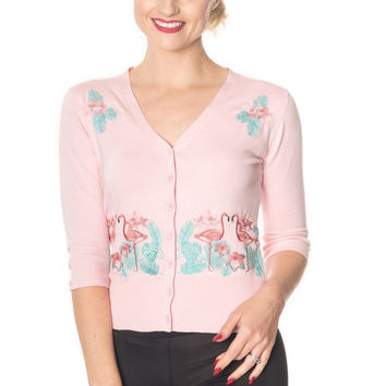50's Vintage Tropical Paradise Pink Flamingo Cardigan in Baby Pink