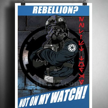 Tie fighter pilot art, starwars propaganda art print,