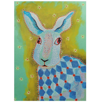 Hare Print Bunny Rabbit Painting Brightly Colored Animal Blue Green Abstract Childrens Wall Art Decor Harlequin Cute Multicolor Modern