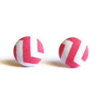 Chevron Pink Fabric Covered Button Earrings
